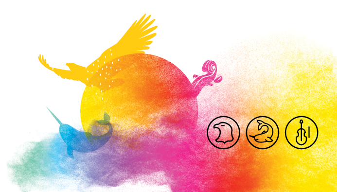 Among the various visual elements illustrating Indigenous cultures, the sun (the summer solstice) is at the center which is at the heart of the festivities. The First Nations, Inuit and Métis as well as the four elements of nature (earth, water, fire and air) are represented in the image and shown opposite. The whole visual is supported by a multicolored smoke* reminding us of Indigenous spirituality but also the colors of the rainbow - symbol of inclusion and diversity of all First Nations, Inuit and Métis communities and their members.  *Smoke is used in different ways by all three Indigenous groups in Canada. Whether it is to smoke fish and meat, to burn sage and tobacco or for sacred ceremonies or celebrations, it is a significant symbol in Indigenous cultures.  Description of the three icons: The eagle to represent the First Nations peoples The narwhal to represent the Inuit peoples The violin to represent the Métis peoples